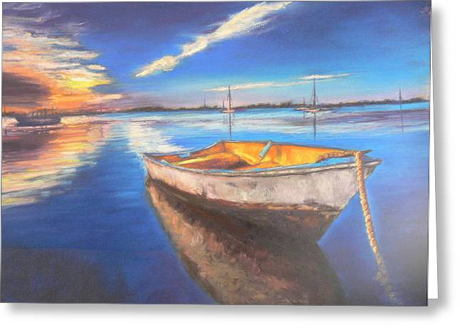 Row Pastels Greeting Cards - Smooth water sunset Greeting Card by Cy Borbone