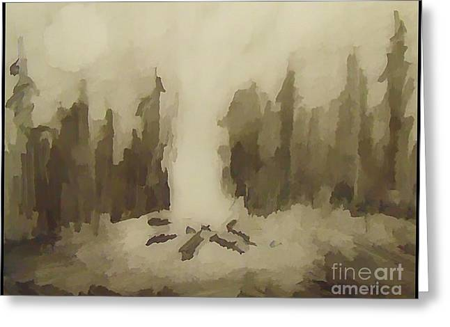 Surreal Landscape Drawings Greeting Cards - Smouldering Greeting Card by John Malone