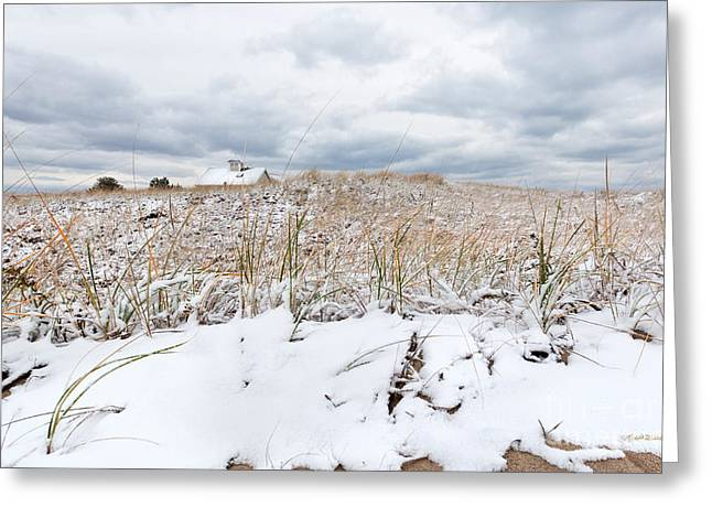 Storm Clouds Cape Cod Greeting Cards - Smugglers Beach Snow Cape Cod Greeting Card by Michelle Wiarda