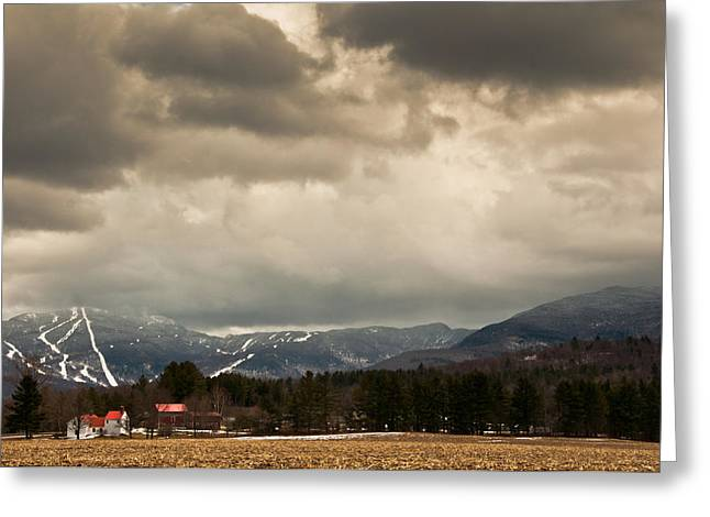 Red Roofed Barn Greeting Cards - Smuggs Storm Greeting Card by Scott Hafer