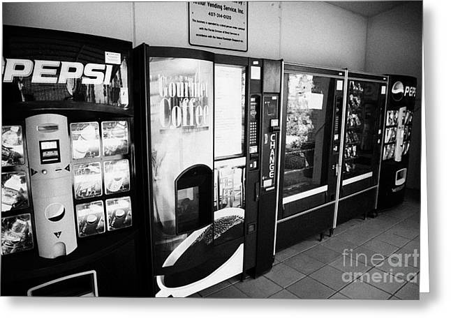 Vending Machine Photographs Greeting Cards - Snack And Drink Vending Machine Concession At An Interstate Highway Rest Stop Florida Usa Greeting Card by Joe Fox