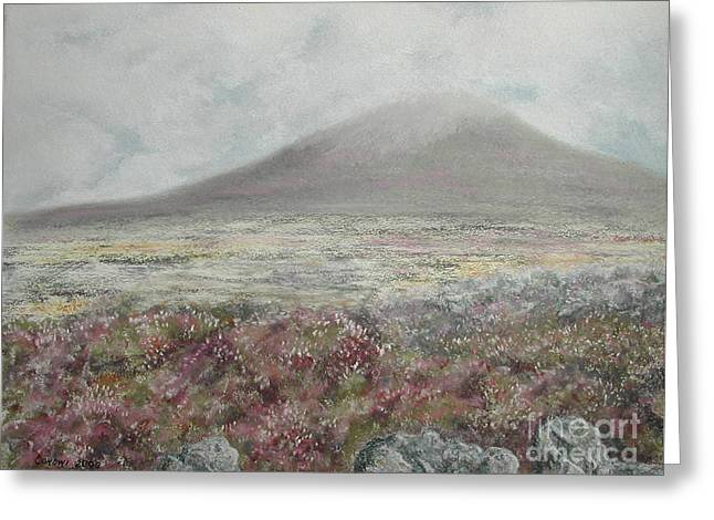 Fog Pastels Greeting Cards - Snaefell Heather Greeting Card by Stanza Widen