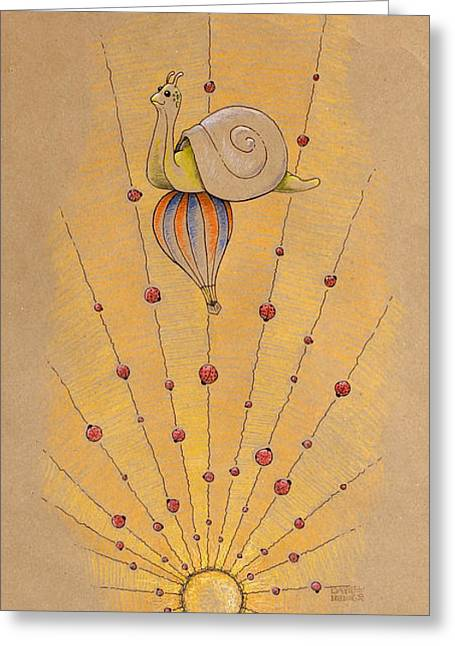 Baby Animal Drawings Greeting Cards - Snail and Ladybugs Greeting Card by David Breeding