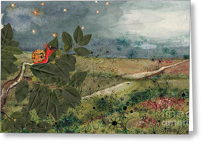 Clever Paintings Greeting Cards - Snail in the Tree Greeting Card by Maria Forrester