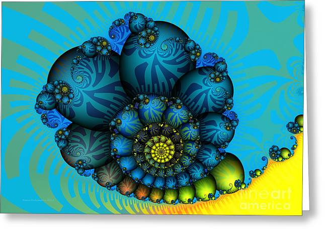 Large Sized Greeting Cards - Snail Mail-Fractal Art Greeting Card by Karin Kuhlmann