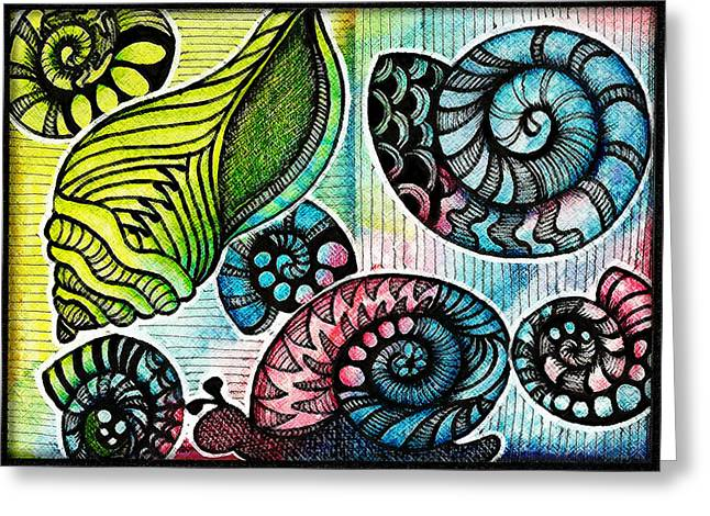 Sea Shell Drawings Greeting Cards - Snaily Shells Greeting Card by Cindy Angiel