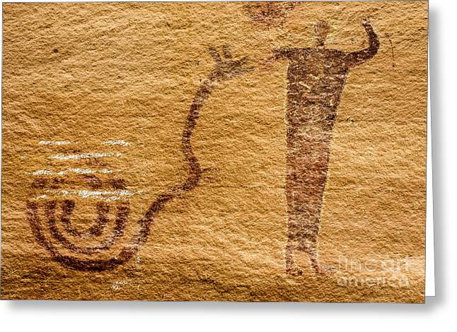 Pictograph Greeting Cards - Snake Charmer - Buckhorn Wash Pictograph Panel - Utah  Greeting Card by Gary Whitton