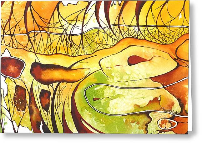 Gold Lime Green Greeting Cards - Snake in the Grass Greeting Card by Renata Wright