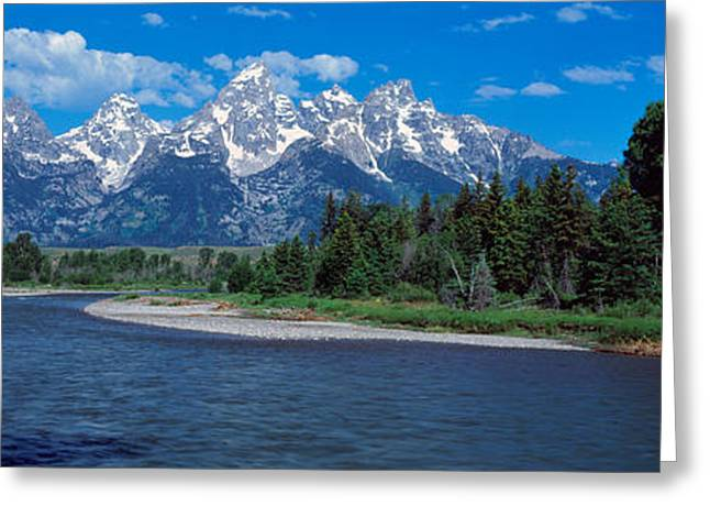 Snow Capped Greeting Cards - Snake River & Grand Teton Wy Usa Greeting Card by Panoramic Images
