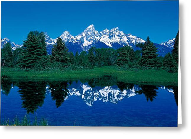 Calm Water Reflection Greeting Cards - Snake River & Teton Range Grand Teton Greeting Card by Panoramic Images
