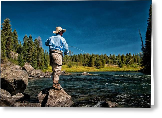 Trout Fishing Greeting Cards - Snake River Cast Greeting Card by Ron White