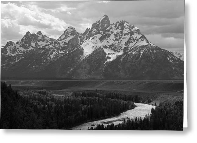 Snake Hole Greeting Cards - Snake River Overlook - Black and White Greeting Card by Aaron Spong