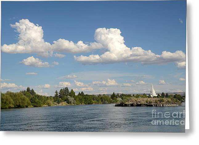 River View Greeting Cards - Snake River with Clouds Greeting Card by Debra Thompson