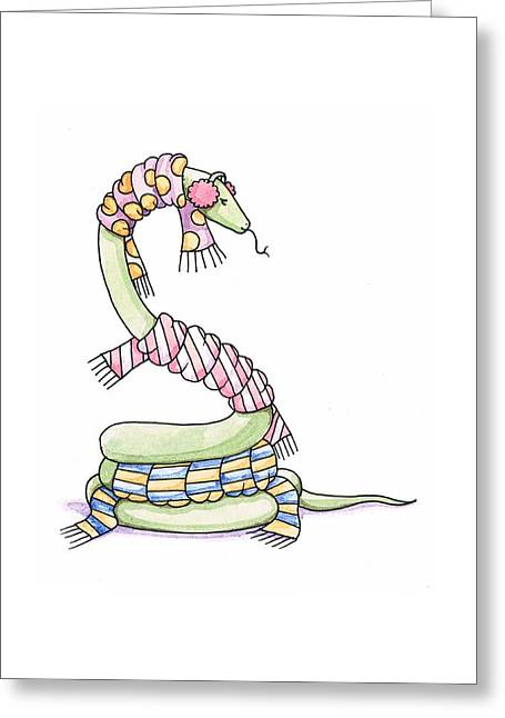 Striped Scarf Greeting Cards - Snake Wearing a Scarf Greeting Card by Christy Beckwith
