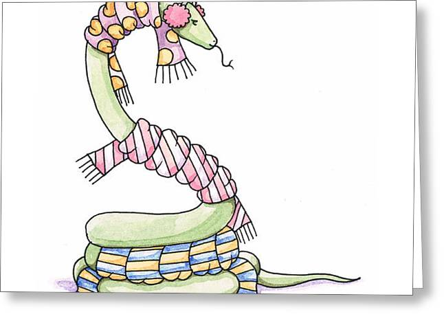 Snake Wearing a Scarf Greeting Card by Christy Beckwith