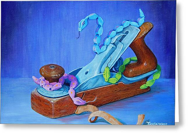 Snakes on a Plane Greeting Card by Tanja Ware