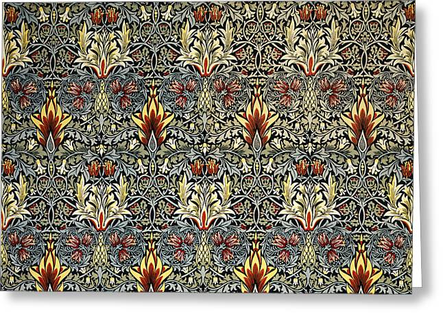 Wallpaper Tapestries Textiles Greeting Cards - Snakeshead Greeting Card by William Morris