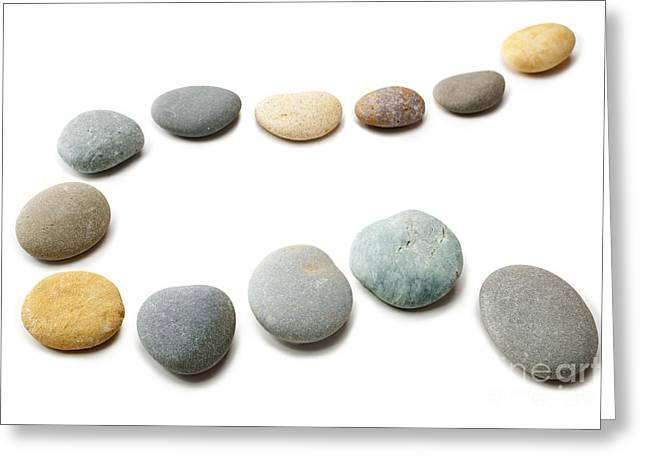 Snaking Line Of Twelve Pebbles Steps Isolated Greeting Card by Colin and Linda McKie
