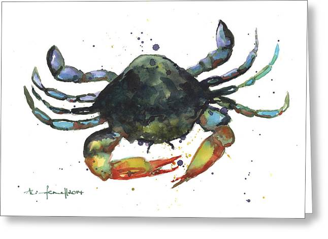 Sealife Greeting Cards - Snappy Crab Greeting Card by Alison Fennell