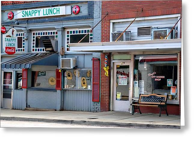Snappy Lunch and Floyd NC Greeting Card by Bob Pardue