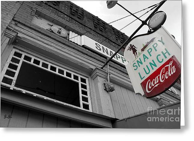 Mt. Airy Greeting Cards - Snappy Lunch Greeting Card by Geri Glavis