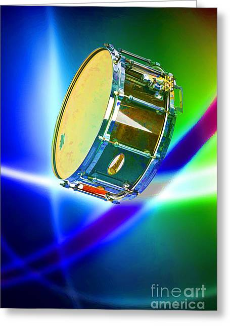 Drummer Mixed Media Greeting Cards - Snare Drum for drum set Painting in Color 3239.02 Greeting Card by M K  Miller