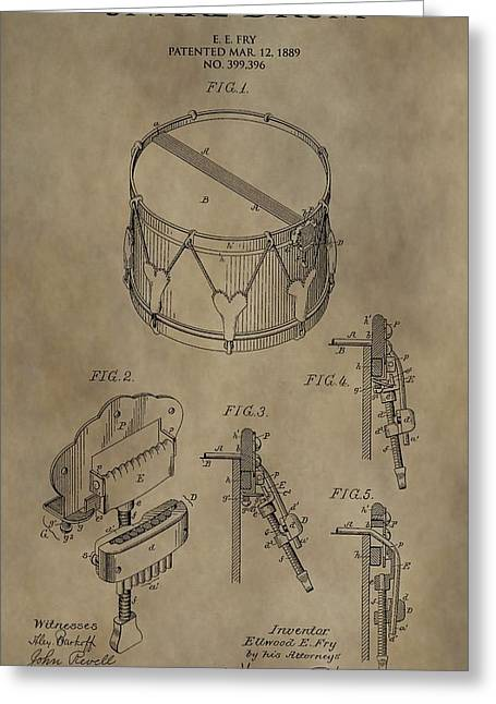 Drum Kit Greeting Cards - Snare Drum Patent Greeting Card by Dan Sproul