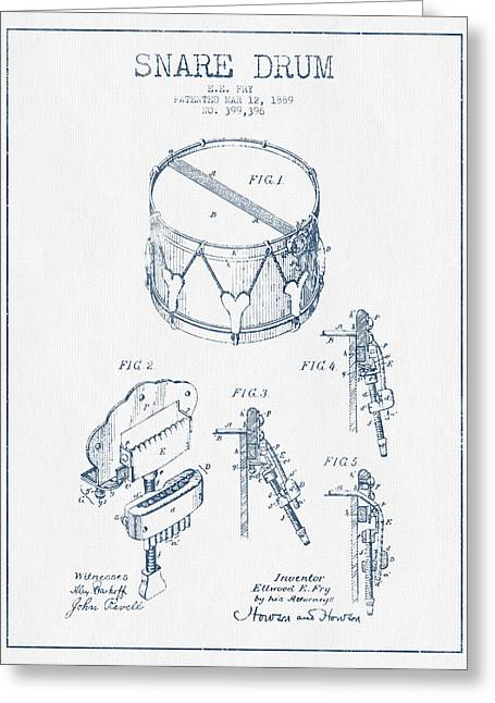 Snare Greeting Cards - Snare Drum Patent Drawing from 1889 - Blue Ink Greeting Card by Aged Pixel