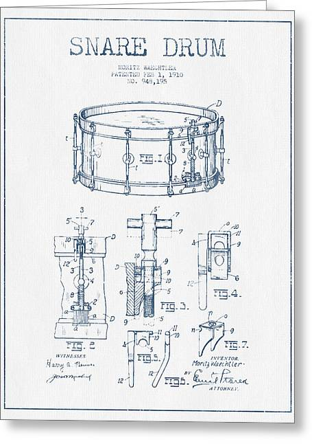Snare Greeting Cards - Snare Drum Patent Drawing from 1910  - Blue Ink Greeting Card by Aged Pixel