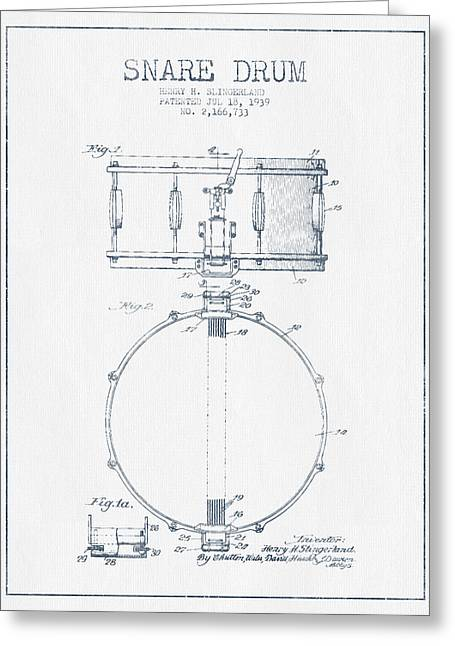 Snare Greeting Cards - Snare Drum Patent Drawing from 1939 - Blue Ink Greeting Card by Aged Pixel