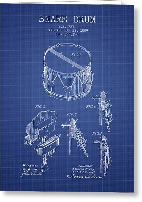 Snare Greeting Cards - Snare Drum Patent from 1889- Blueprint Greeting Card by Aged Pixel