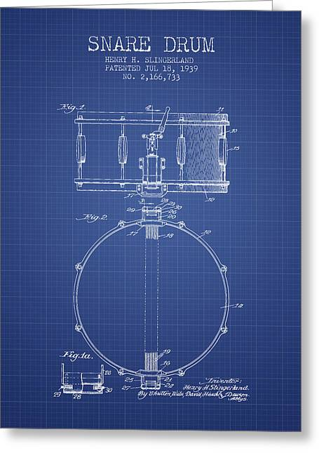 Snare Greeting Cards - Snare Drum Patent from 1939 - Blueprint Greeting Card by Aged Pixel