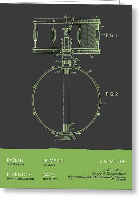 Snare Greeting Cards - Snare Drum Patent from 1939 - Gray Green Greeting Card by Aged Pixel