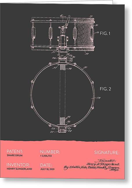 Snare Greeting Cards - Snare Drum Patent from 1939 - Gray Salmon Greeting Card by Aged Pixel
