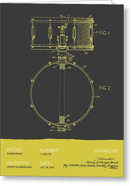 Snare Greeting Cards - Snare Drum Patent from 1939 - Gray Yellow Greeting Card by Aged Pixel