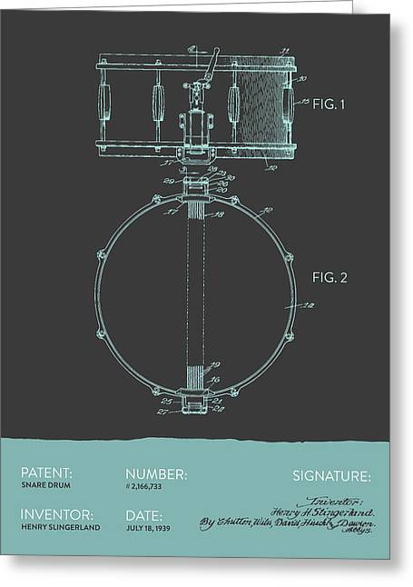 Snare Greeting Cards - Snare Drum Patent from 1939 - Modern Gray Blue Greeting Card by Aged Pixel
