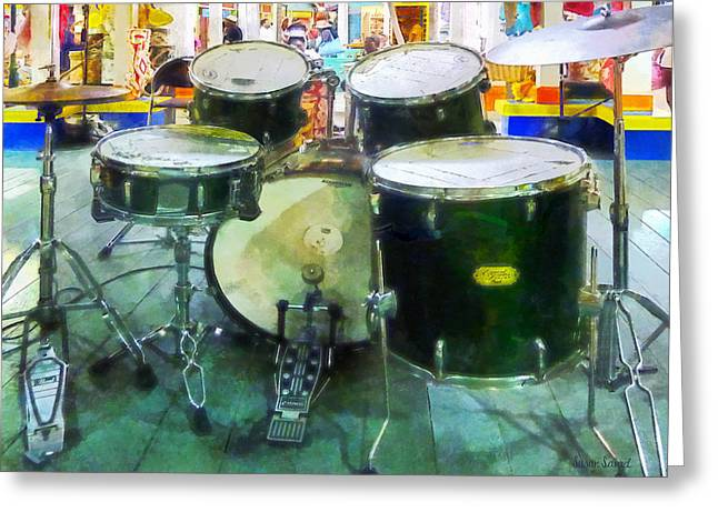 Drum Greeting Cards - Snare Drum Set Greeting Card by Susan Savad