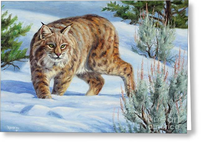 Bobcats Greeting Cards - Sneak Attack Bobcat Greeting Card by Cliff Rossberg