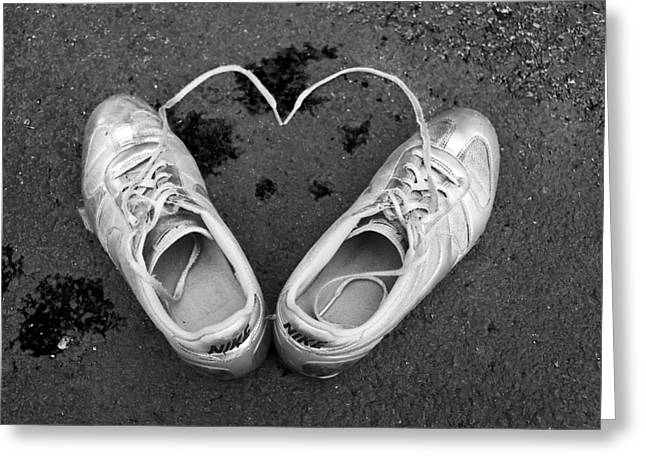Sneaker Love Greeting Cards - Sneaker Heart Greeting Card by Pat Bourque