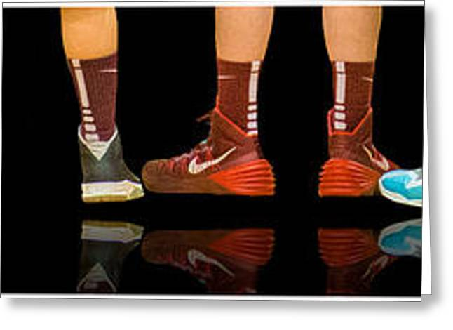 Basketballs Greeting Cards - Sneakers Greeting Card by Mary Beth D