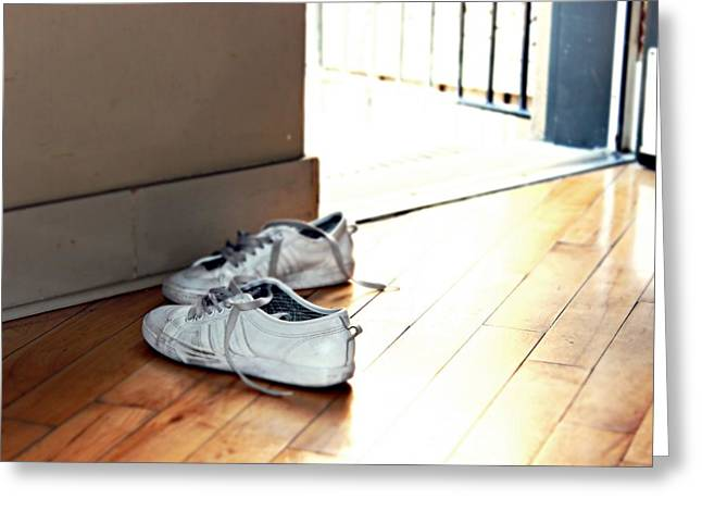 Sneaker Lace Greeting Cards - Sneakers on the floor Greeting Card by Darius Matuliukstis