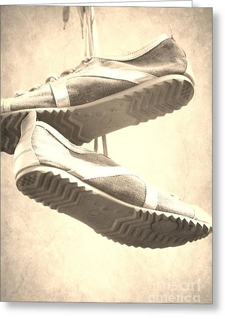 Running Shoe Greeting Cards - Sneakers Greeting Card by Sophie Vigneault