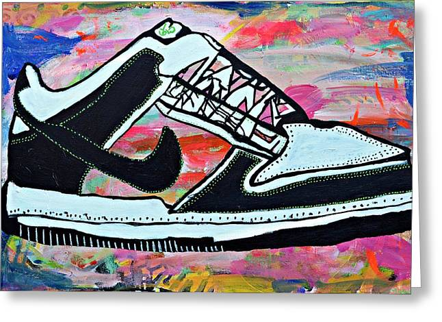 Nike Greeting Cards - Sneaks Greeting Card by Nicole Gavin