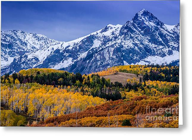 Snow Capped Greeting Cards - Sneffels Range Fall Sunrise - Dallas Divide - Colorado Greeting Card by Gary Whitton