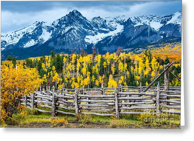 Snow Capped Greeting Cards - Sneffels Range Ranch in Fall - Colorado Greeting Card by Gary Whitton