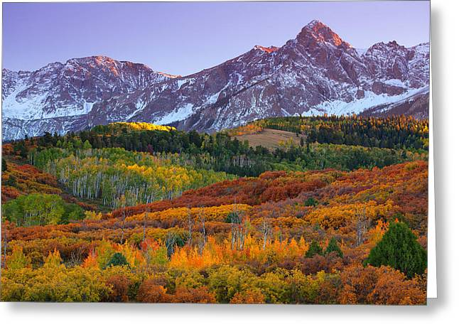 Colorado Mountain Greeting Cards Greeting Cards - Sneffels Sunrise Greeting Card by Darren  White