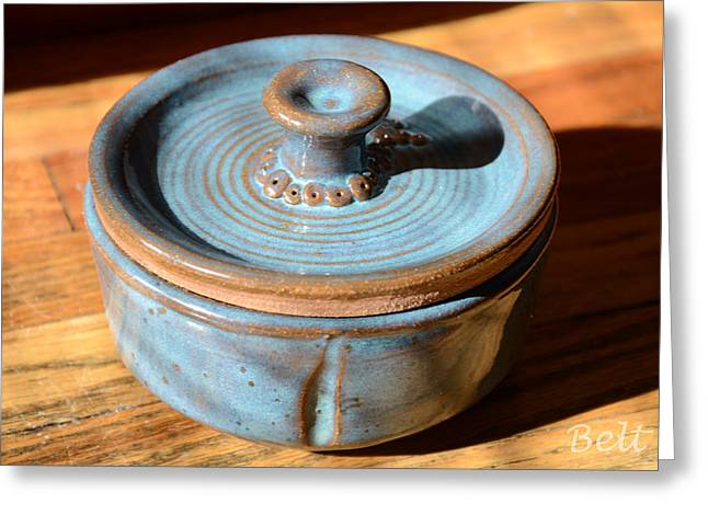 Glazed Pottery Ceramics Greeting Cards - Snickerhaus Pottery-Vessel With Lid Greeting Card by Christine Belt