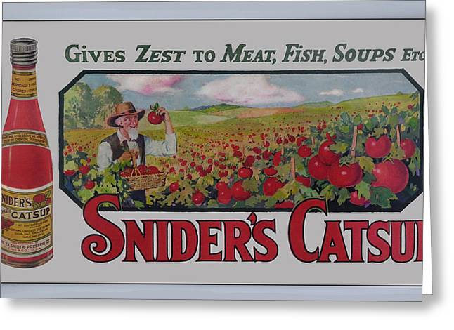 Snider Greeting Cards - Sniders Catsup Greeting Card by Woodson Savage