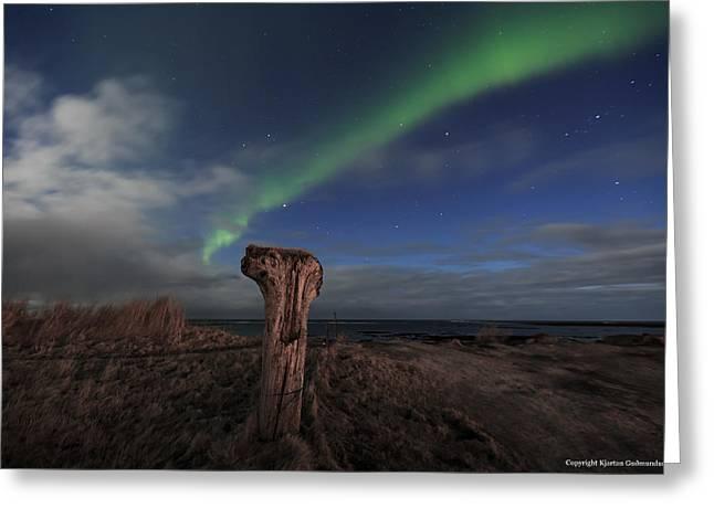Northernlights Greeting Cards - Sniffing aurora. 2 Greeting Card by Kjartan Gudmundur