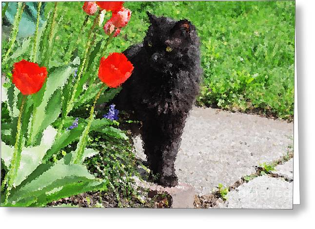 Impressionist Style Greeting Cards - Sniffing Spring Greeting Card by Charline Xia